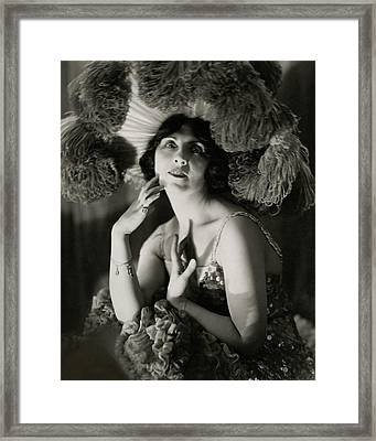 Mary Nash Wearing A Headdress Framed Print