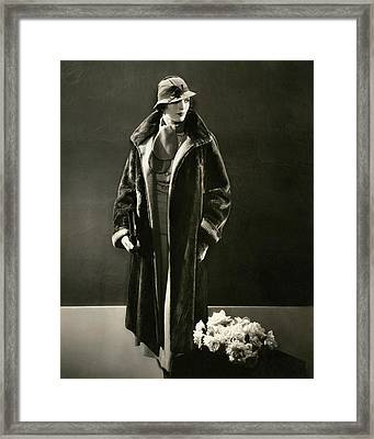 Mary Oakes Wearing A Peggy Morris Scarf And Rose Framed Print by Edward Steichen