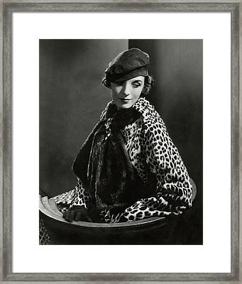 Mary Oakes Wearing Revillon Freres On A Chair Framed Print