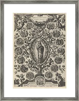 Mary Of The Rosary, Print Maker Jan Van Der Straet Framed Print by Jan Van Der Straet And Philips Galle