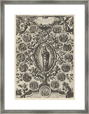 Mary Of The Rosary, Print Maker Jan Van Der Straet Framed Print