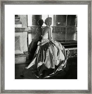 Mary Phipps Wearing A Balmain Dress Framed Print