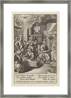 Mary Sleeping In Her Crib, Hieronymus Wierix Framed Print
