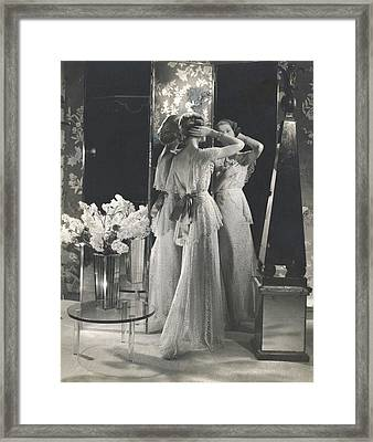 Mary Taylor Wearing A Saks Fifth Avenue Dress Framed Print
