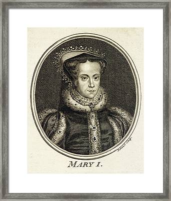 Mary Tudor  Catholic Queen Of England Framed Print by Mary Evans Picture Library