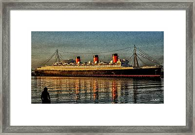 Mary Watches The Queenmary Framed Print by Bob Winberry
