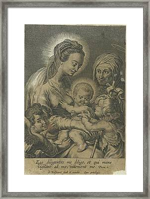 Mary With Child And John The Baptist As A Child With Anna Framed Print by Schelte Adamsz. Bolswert And Peter Paul Rubens And Schelte Adamsz. Bolswert