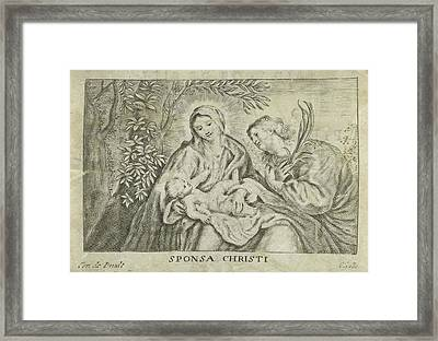 Mary With Child And Martyr, Cornelis Galle II Framed Print