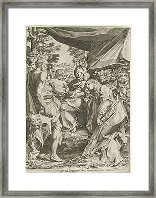 Mary With Child, Mary Magdalen And Jerome Framed Print by Mary Magdalen And Jerome And Cristofano Cartaro And Baptista Parmiensis
