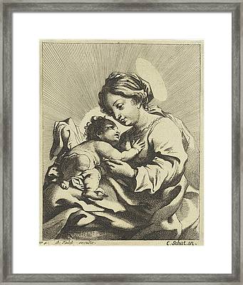 Mary With The Christ Child, Anonymous, Gerard Valck Framed Print by Gerard Valck