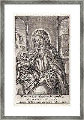 Mary With The Christ Child On Her Lap, Print Maker Framed Print by Hieronymus Wierix And Piermans