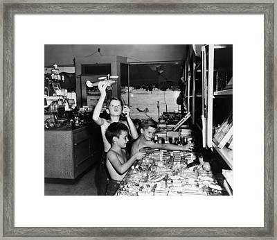 Maryland Boys Playing Framed Print by Granger