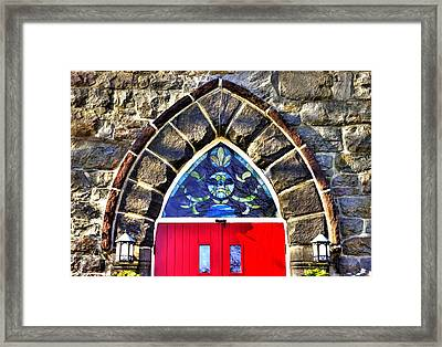 Maryland Country Churches - Saint Anthony Shrine Church Emmitsburg - Main Entrance Close1 Framed Print by Michael Mazaika