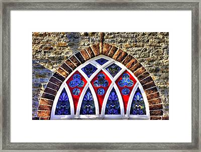Maryland Country Churches - Saint Anthony Shrine Church Emmitsburg - Stained Glass Exterior Close1 Framed Print by Michael Mazaika