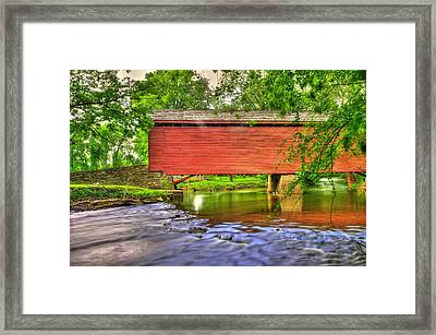 Maryland Country Roads - Peaceful Crossing - Loys Station Covered Bridge 3a Spring Framed Print by Michael Mazaika