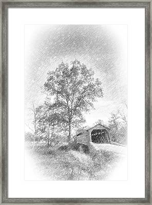 Maryland Covvered Bridge In Pencil Framed Print