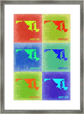 Maryland Pop Art Map 2 Framed Print by Naxart Studio