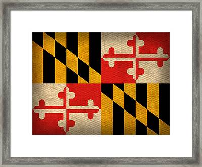 Maryland State Flag Art On Worn Canvas Framed Print by Design Turnpike