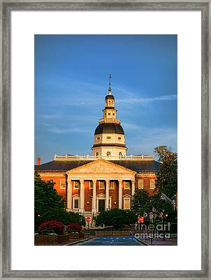 Maryland State House At Sunset Framed Print by Olivier Le Queinec