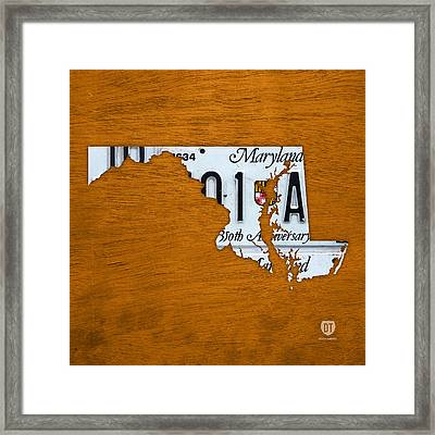 Maryland State License Plate Map Framed Print