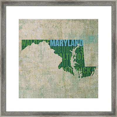 Maryland Word Art State Map On Canvas Framed Print by Design Turnpike
