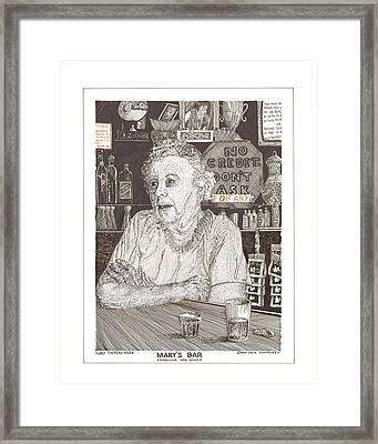Mary Of Marys Bar Cerrillos New Mexico Framed Print by Jack Pumphrey
