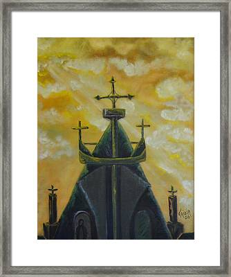 Mary's Cathedral In The Sky Framed Print by Tricia Concienne