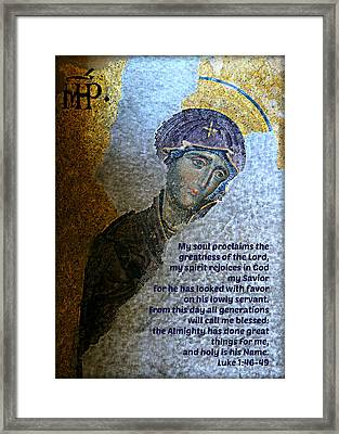 Mary's Magnificat Framed Print