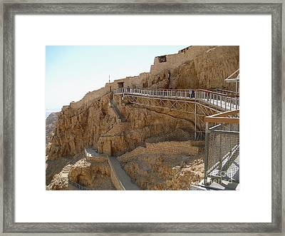 Masada. Israel. The Bridge To The Top Of Masada. Framed Print