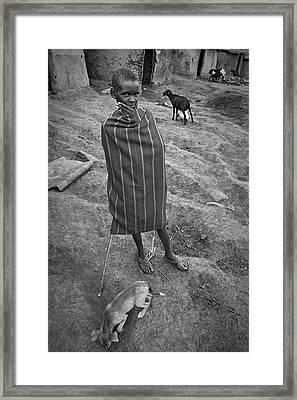 Framed Print featuring the photograph Masai #3 by Antonio Jorge Nunes