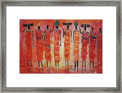 Masai Gathering Fire Wood Framed Print by Abu Artist