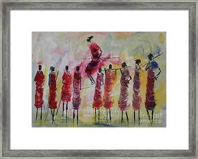 Masai Jumping Framed Print by Abu Artist