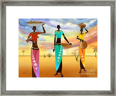 Masai Women Quest For Grains Framed Print by Bedros Awak
