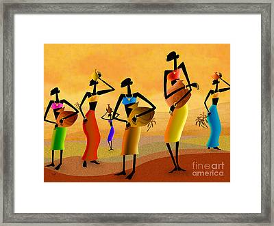 Masai Women Quest For Water Framed Print by Bedros Awak