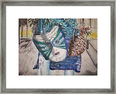 Mask And Pinecone Framed Print by Linda Vaughon