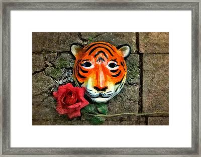 Mask And Rose Framed Print
