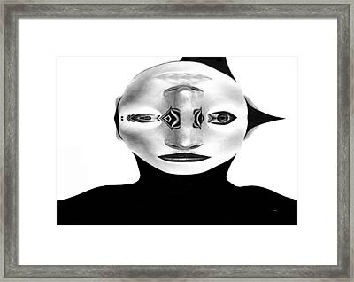 Framed Print featuring the painting Mask Black And White by Rafael Salazar