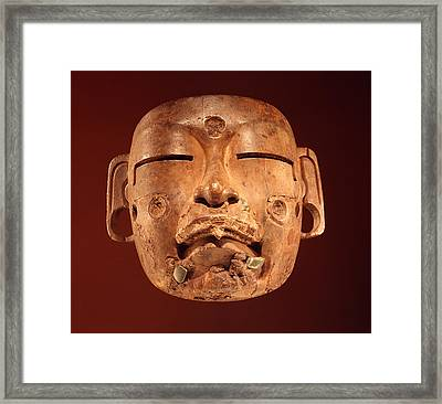Mask, Olmec Culture Wood Framed Print by Pre-Columbian