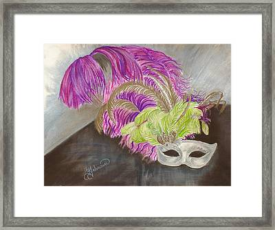 Framed Print featuring the drawing Mask by Yolanda Raker