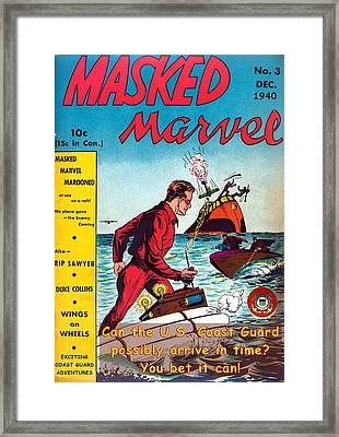 Masked Marvel And The Coast Guard Framed Print