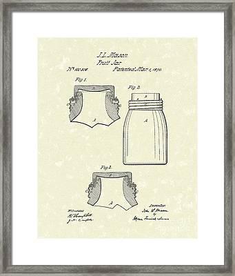 Mason Fruit Jar 1870 Patent Art Framed Print by Prior Art Design