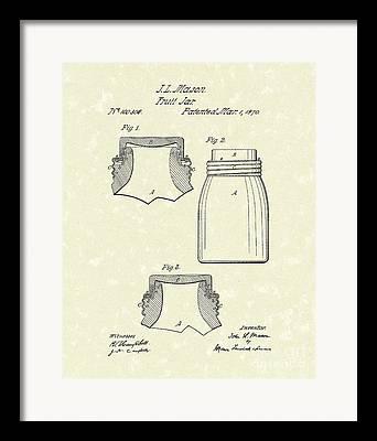 Mason Jars Drawings Framed Prints