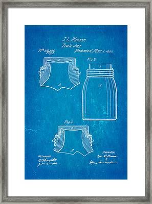 Mason Fruit Jar Patent Art 1870 Blueprint Framed Print by Ian Monk