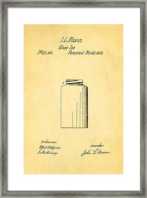 Mason Jar Patent Art 1858 Framed Print by Ian Monk
