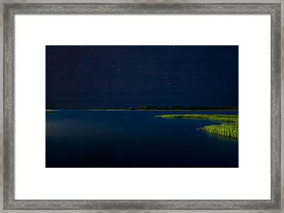 Masonboro Sound At Night Framed Print by Phil Mancuso