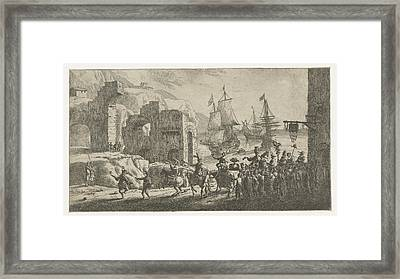 Masquerade At A Port, Attributed To Reinier Nooms Framed Print