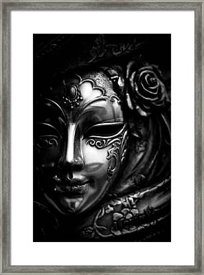 Masquerade In Grey Framed Print