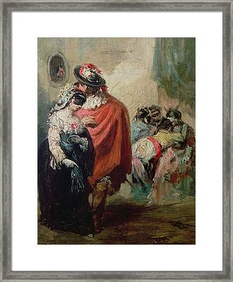 Masquerade Oil On Canvas Framed Print by Eugenio Lucas y Padilla