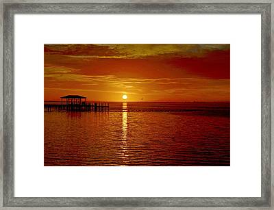 Mass Migration Of Birds With Colorful Clouds At Sunrise On Santa Rosa Sound Framed Print by Jeff at JSJ Photography