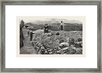 Mass Of Quartz Excavated From No Framed Print by English School